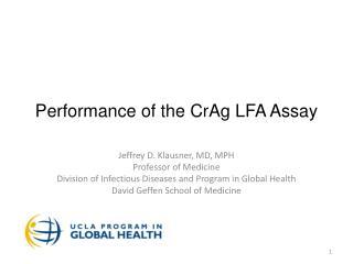 Performance of the  CrAg  LFA Assay