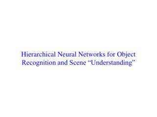 "Hierarchical Neural Networks for Object Recognition and Scene ""Understanding"""