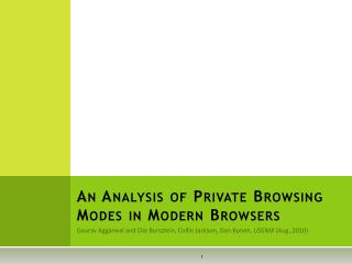 An Analysis of Private Browsing Modes in Modern Browsers