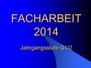 FACHARBEIT  2014 Jahrgangsstufe  Q1/2