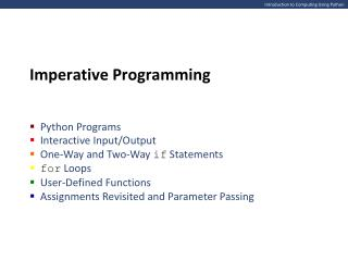 Introduction to Computing Using Python