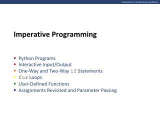 Introduction to Computing Using Python
