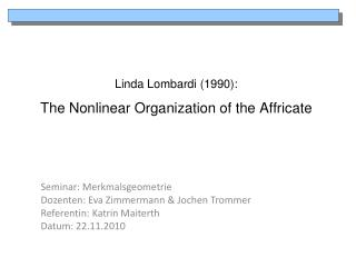 Linda Lombardi (1990 ): The  Nonlinear  Organization  of the Affricate