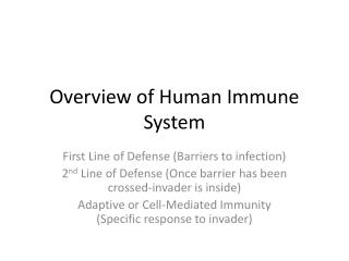 Overview of Human Immune System