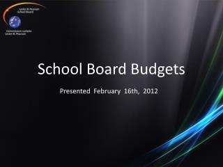 School Board Budgets