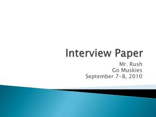 Interview Paper