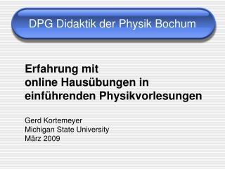DPG Didaktik der Physik Bochum