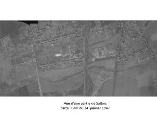 Vue d'une partie de Salbris carte  IGNF du 24  janvier 1947