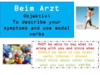 Beim Arzt Objektiv ; To describe your symptoms and use modal verbs