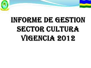 INFORME DE GESTION  SECTOR CULTURA  VIGENCIA 2012