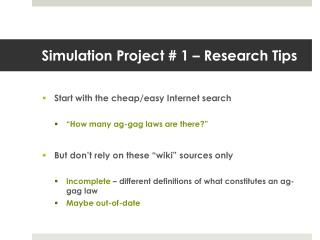 Simulation Project # 1 – Research Tips
