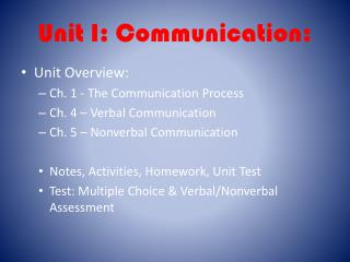 Unit I: Communication: