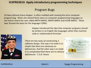 ICAPRG301A			        Week 4		Buggy Programming