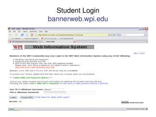 Student Login bannerweb.wpi