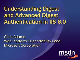Understanding Digest and Advanced Digest Authentication in IIS 6.0