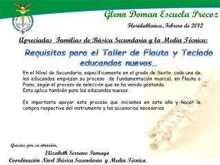 Elizabeth Serrano Tamayo Coordinación Nivel Básica  Secundaria  y Media Técnica