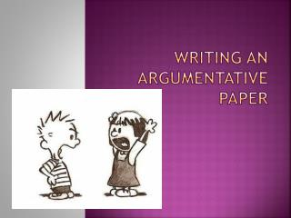Writing an argumentative paper