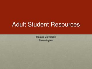 Adult Student Resources