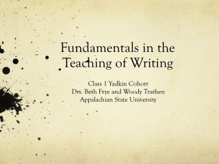 Fundamentals in the Teaching of Writing