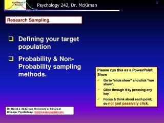 Psychology 242, Dr. McKirnan