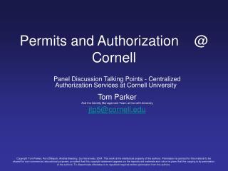 Permits and Authorization     Cornell