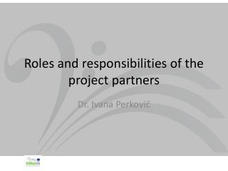 Roles and responsibilities of the project partners