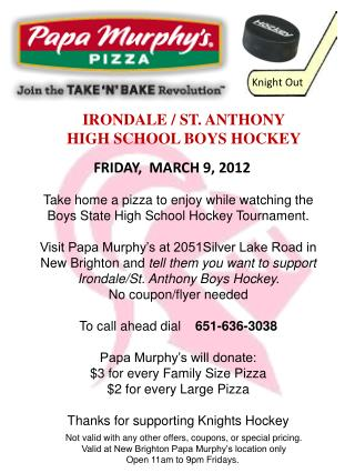 IRONDALE / ST. ANTHONY HIGH SCHOOL BOYS HOCKEY