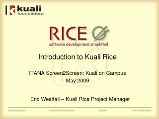 Introduction to Kuali Rice ITANA Screen2Screen:  Kuali  on Campus May 2009