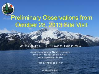 Preliminary Observations from October 28, 2013 Site Visit