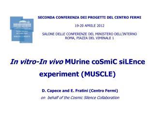 SECONDA CONFERENZA DEI PROGETTI DEL CENTRO FERMI 19-20 APRILE 2012