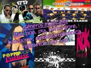 Géneros musicales Rap, pop, ska, porno gore, banda,rok, metálica,tektonica, reggaetón, hip hop