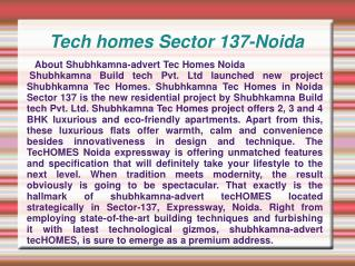 Tech homes,Tech homes Noida,Tech homes Sector 137-Noida,Tech