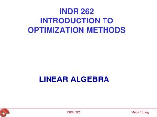 INDR 262 INTRODUCTION TO O PTIMIZATION  METHODS