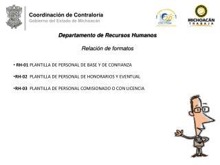 Coordinación de Contraloría Gobierno del Estado de Michoacán