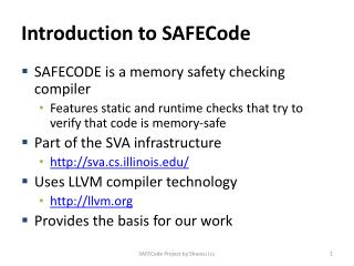 Introduction to  SAFECode