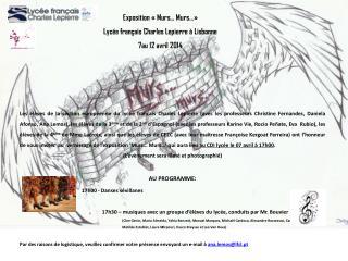 Exposition «Murs… Murs…» Lycée français Charles Lepierre à Lisbonne 7au 12 avril 2014