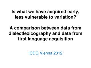 ICDG  Vienna  2012