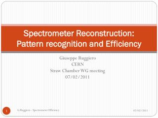 Spectrometer Reconstruction : Pattern  recognition  and  Efficiency