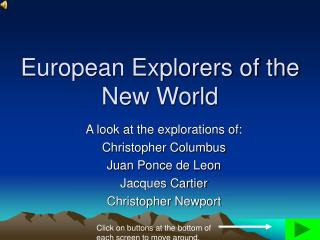 European Explorers of the New World