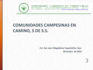 COMUNIDADES CAMPESINAS  EN  CAMINO, S DE S.S. Col. San José, Magdalena Tequisistlán,  Oax .