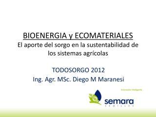 BIOENERGIA y ECOMATERIALES El aporte del sorgo en la sustentabilidad de los sistemas agrícolas