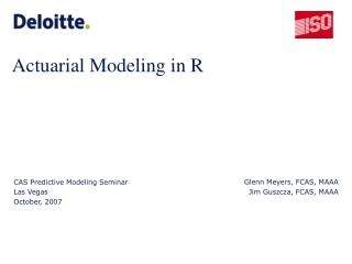 Actuarial Modeling in R