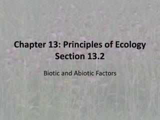 Chapter 13: Principles of Ecology Section 13.2
