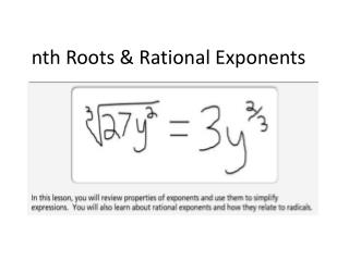 nth Roots & Rational Exponents