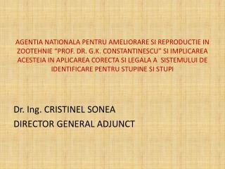Dr. Ing. CRISTINEL SONEA DIRECTOR GENERAL ADJUNCT