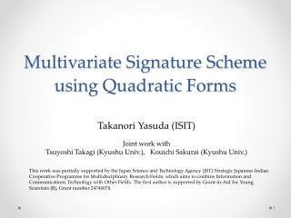 Multivariate Signature Scheme using Quadratic Forms