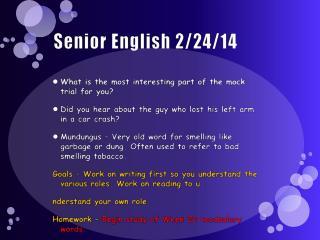Senior English 2/24/14