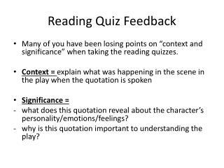 Reading Quiz Feedback