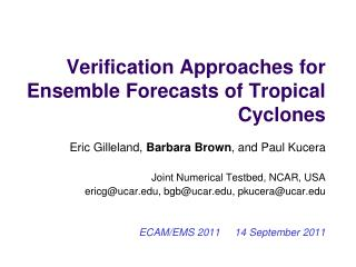 Verification Approaches for Ensemble Forecasts of Tropical Cyclones