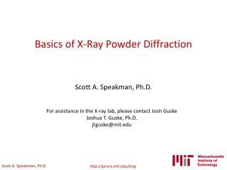 Basics of X-Ray Powder Diffraction
